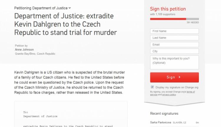 Petice žádá o vydání Dahlgrena české justici