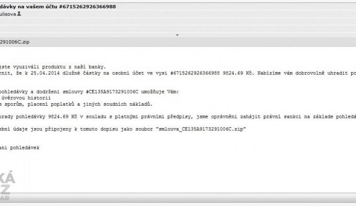 Internetem se šíří nové podvodné e-maily. Jejich příloha zaviruje počítač