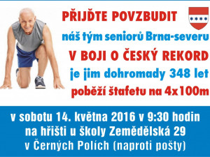 Senioři Brna-severu se pokusí zlomit český rekord ve štafetě; společně mají 348 let