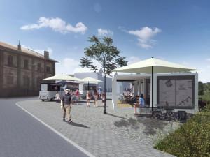 FOTO: Na brněnském dolním nádraží vznikne nová čekárna, chytré lavičky, stánky s jídlem a wi-fi zóna