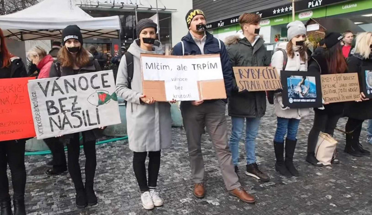 Na Masaryčce se aktivisté postaví do tiché uličky za kapry, nelíbí se jim zabíjení kvůli Vánocům