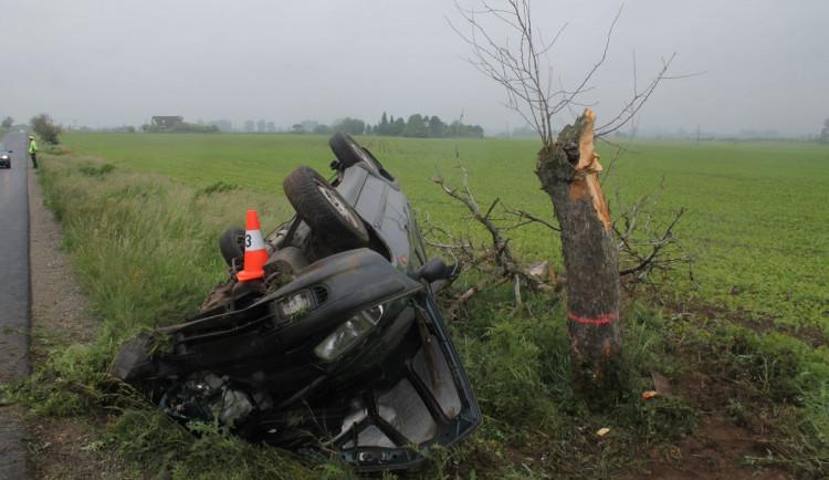 FOTO: Felicia vylétla ze silnice a přerazila strom vejpůl. Řidička jako zázrakem přežila