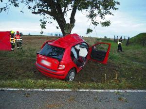 Žena nezvládla na Brněnsku řízení a narazila do stromu, na místě zemřela