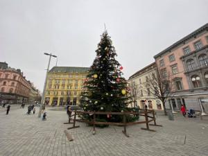 Svoboďák už zdobí vánoční strom. Po stáncích však ani stopa, o trzích rozhodnou vládní nařízení