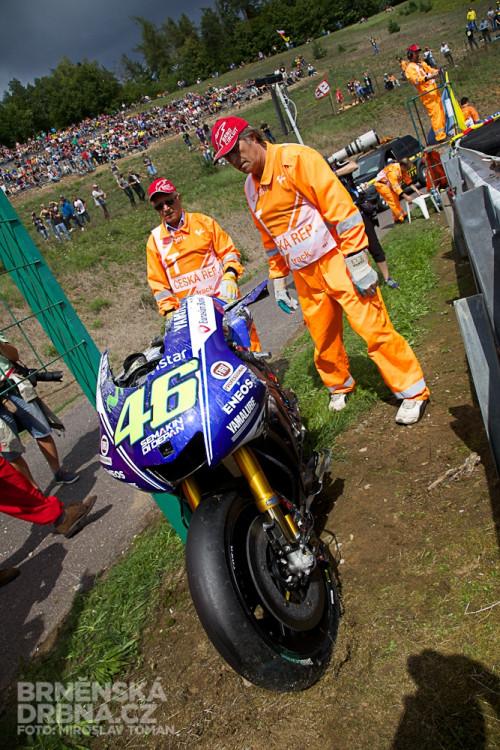 Havarovaný motocykl Valentina Rossiho, foto: Brněnská Drbna, Miroslav Toman